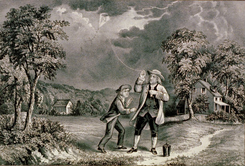 Ben Franklin flying kite electricity experiment